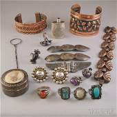 Small Group of Mostly Sterling Silver and Copper Jewelr