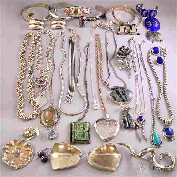 Group of Assorted Mostly Sterling Silver Jewelry, inclu