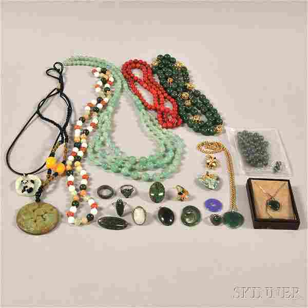 Group of Mostly Asian Hardstone Jewelry, including seve