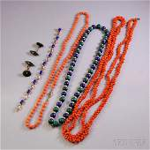 Group of Hardstone and Coral Jewelry two coral necklac