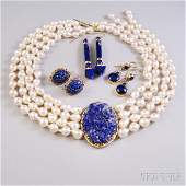 Small Group of Lapis Jewelry, three pairs of assorted 1