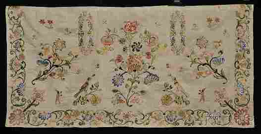 Early Embroidered Silk Apron/Panel, America, probably 1
