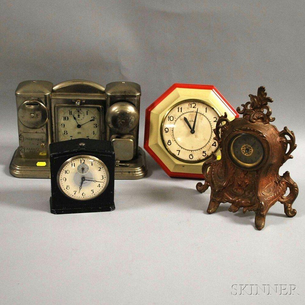 Four Lever-escapement Clocks, a Darchel nickel-plated a