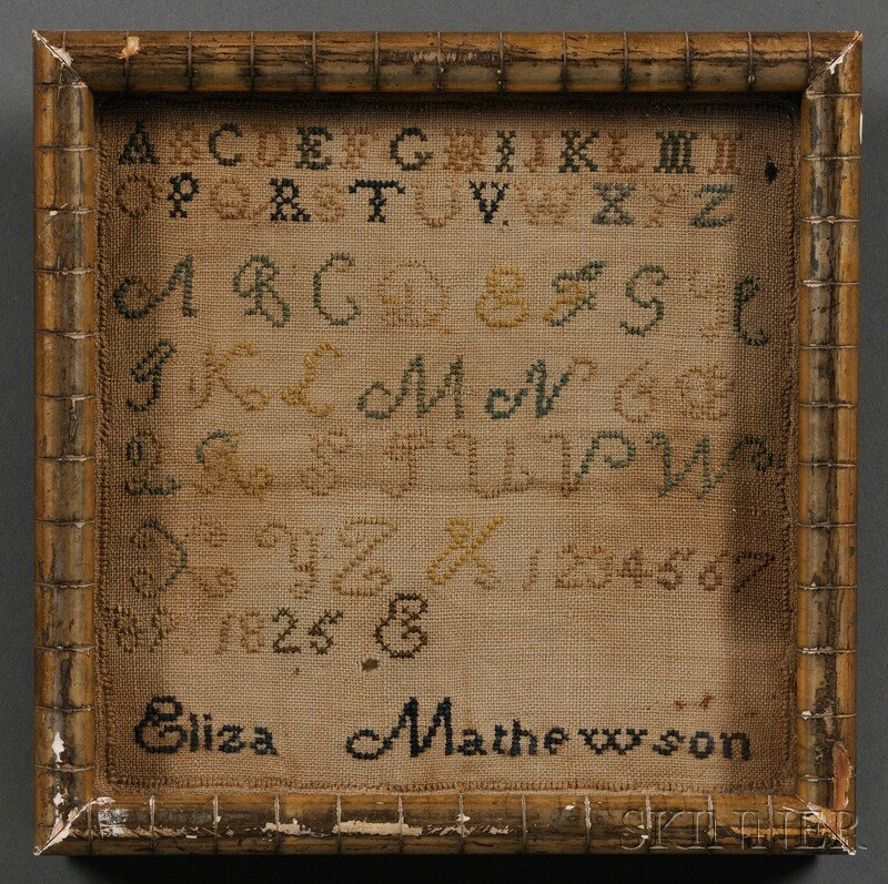 "Small Needlework Sampler, ""Eliza Mathewson/1825,"" stitc"