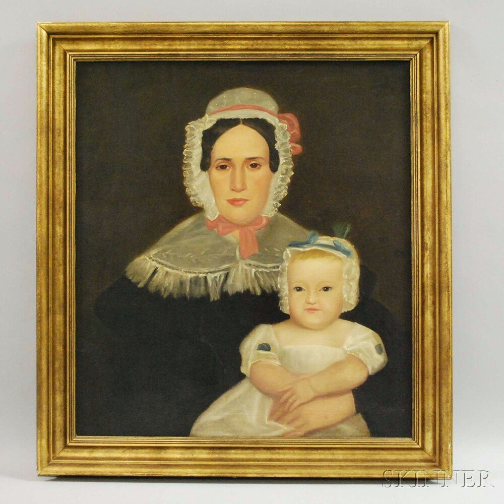 19th Century American School Oil on Canvas Portrait of