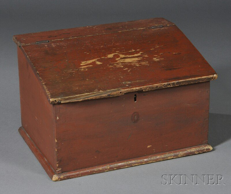 Red-painted Pine Tabletop Desk, New England, early 19th