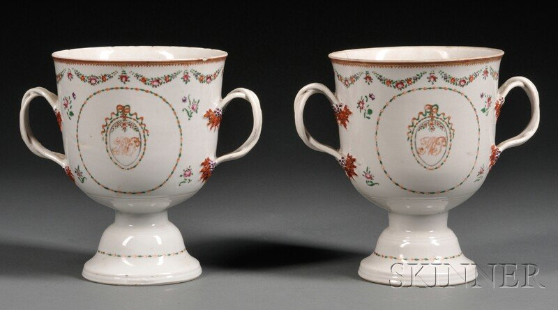 Pair of Chinese Export Porcelain Loving Cups, c. 1790,