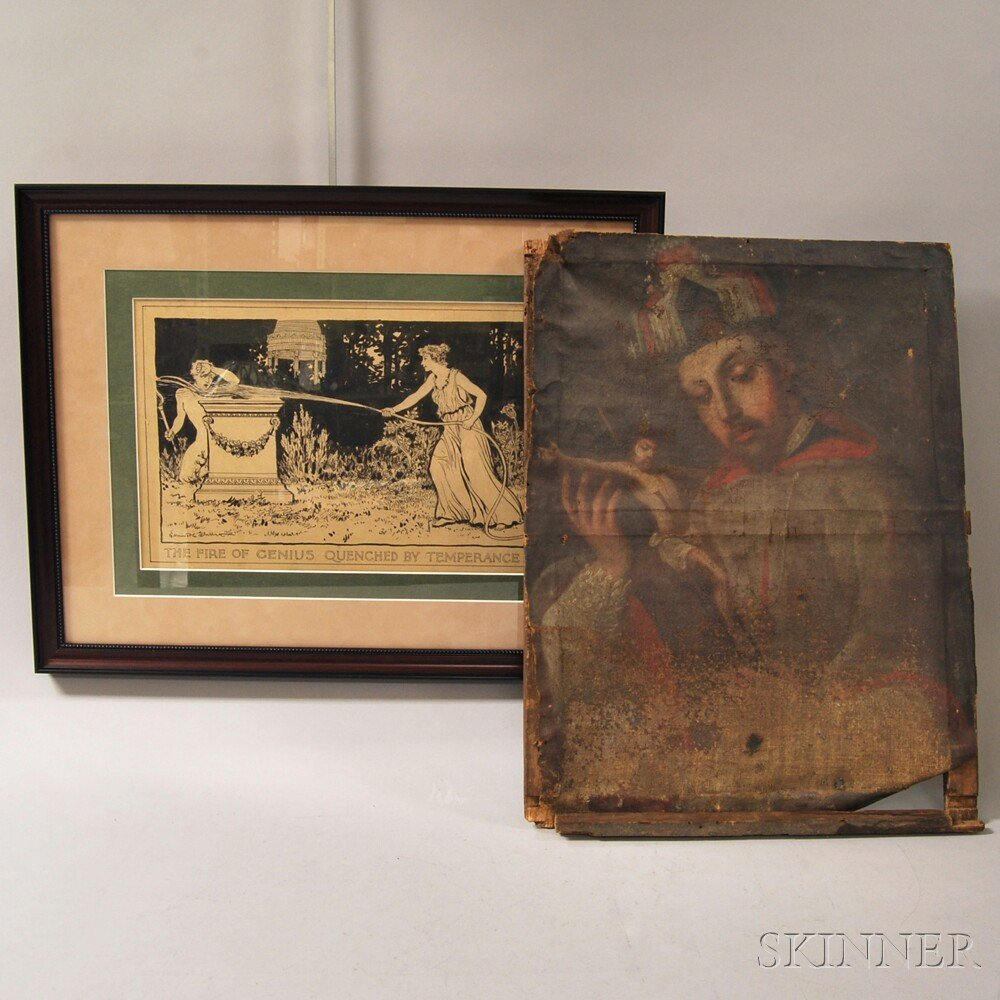 Two Works, an 18th/19th century European school oil on