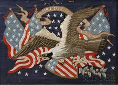 Silk Needlework Patriotic Picture with American Eagle a