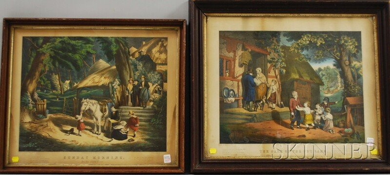 Two Hand-colored Medium Folio Currier & Ives Framed Lit