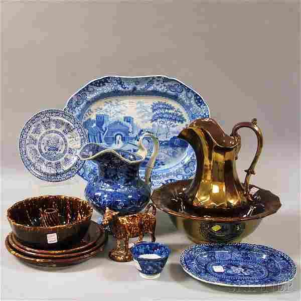 Twelve Assorted English Glazed and Decorated Ceramic Wa