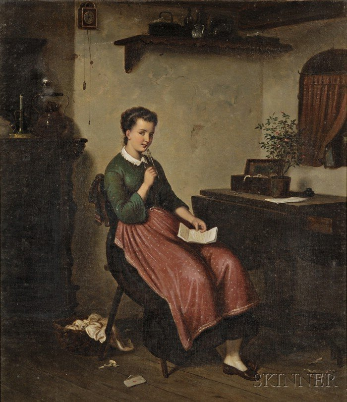 European School, 19th Century Seated Woman in Interior