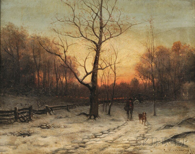 Continental School, 19th Century, Winter Path with Man