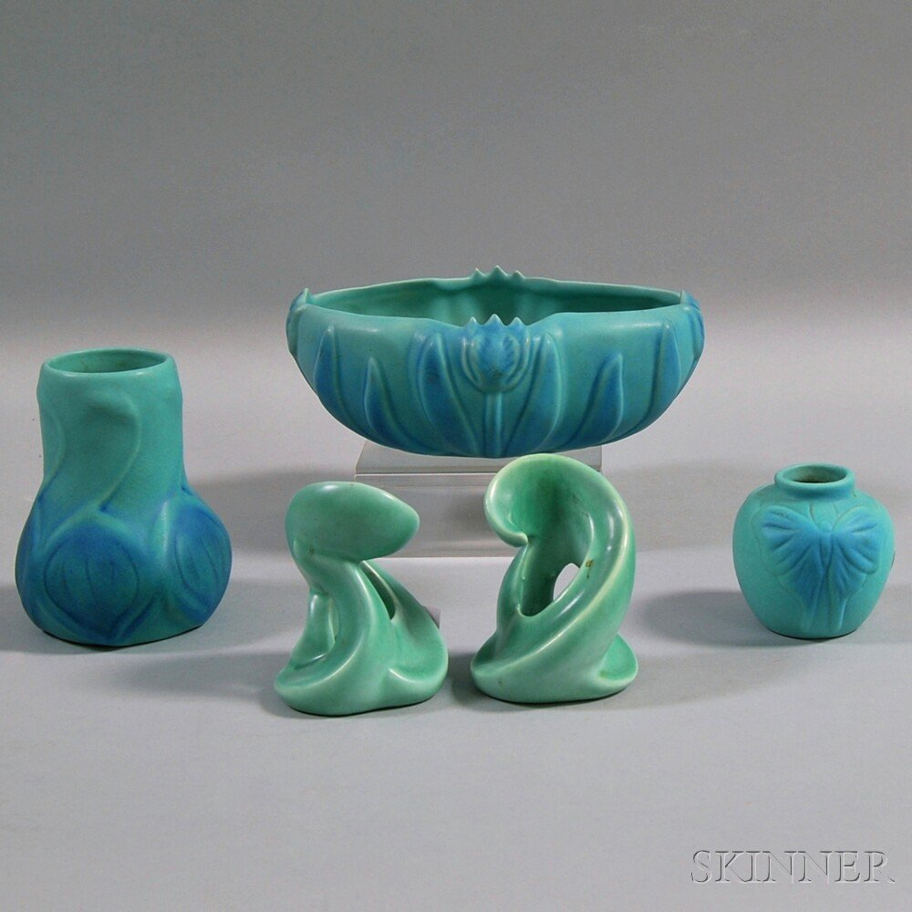 Three Pieces of Turquoise Van Briggle Pottery and a Pai