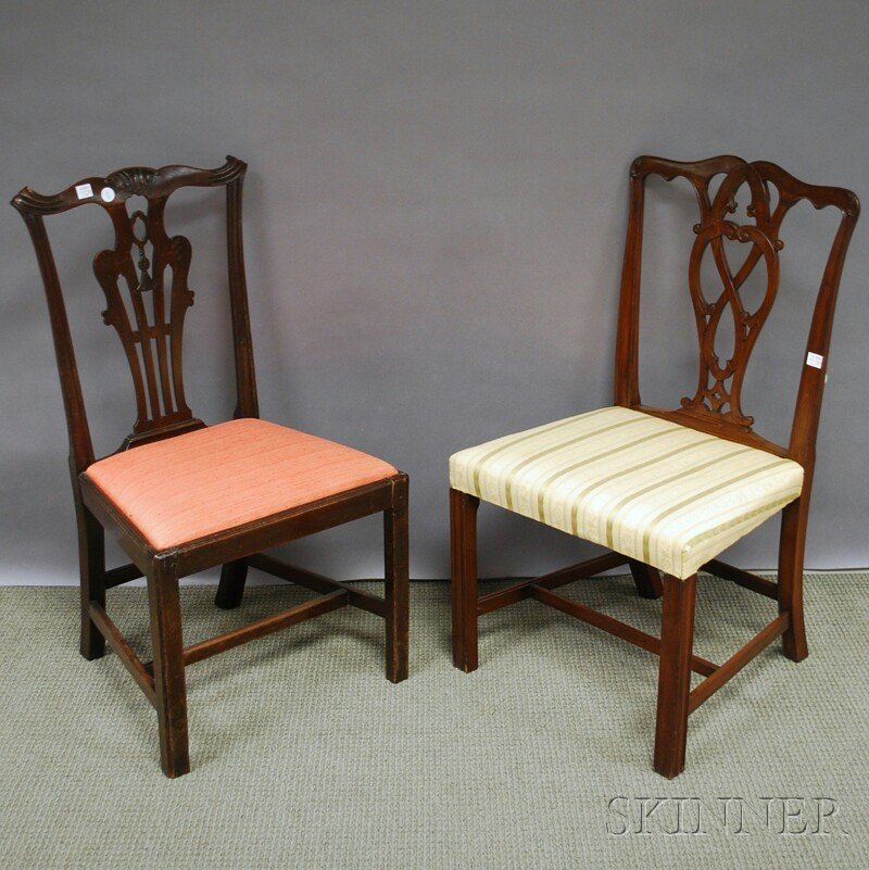 Two George III Carved Mahogany Side Chairs.