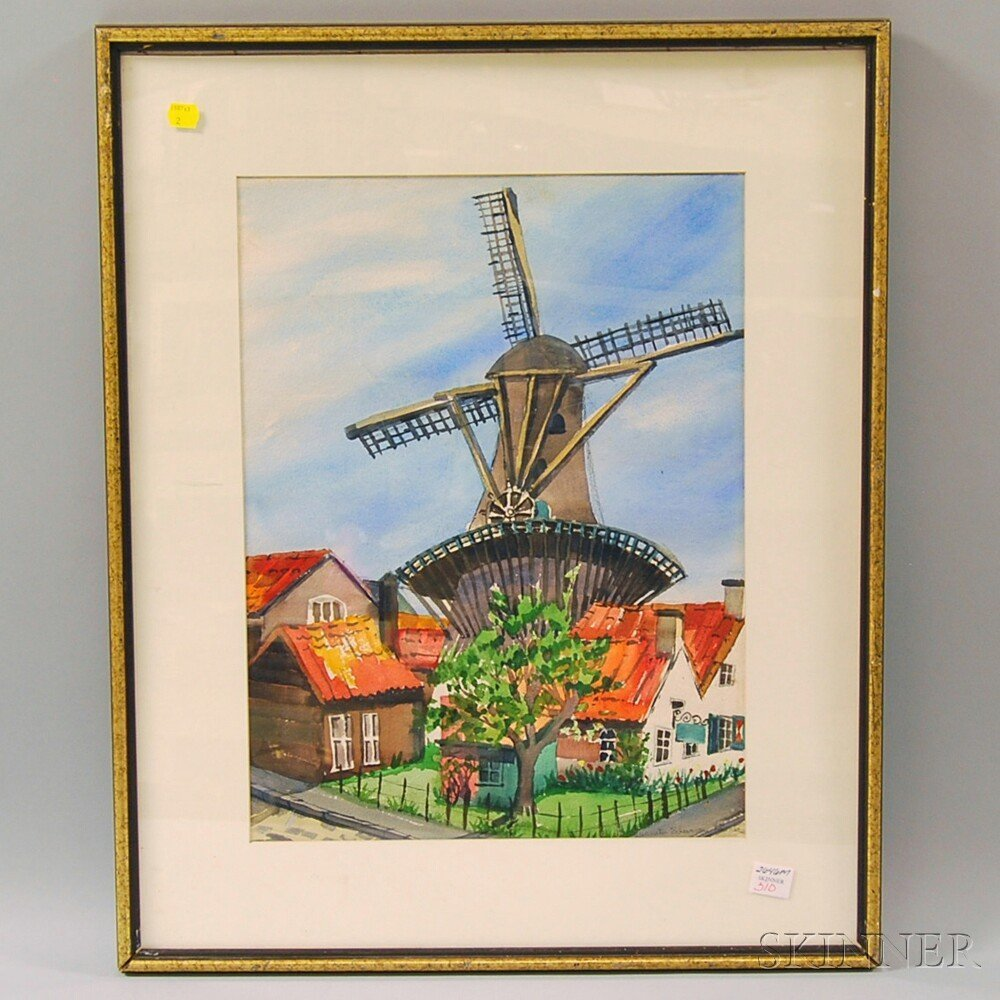 Spanish School, 20th Century View of a Windmill. Signed
