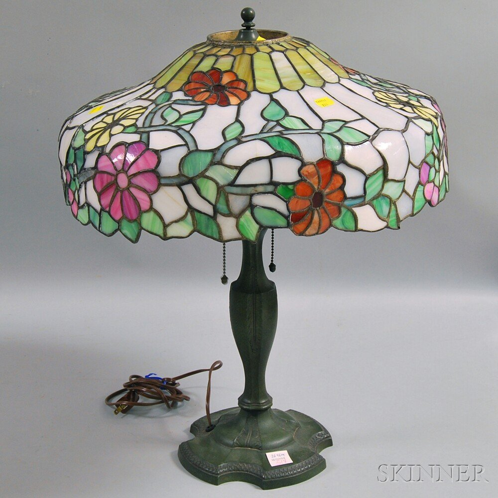 Cast Metal Lamp Base and Floral Mosaic Lamp Shade, the