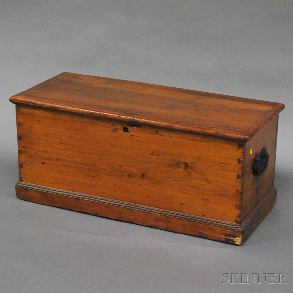 Pine Dovetail-constructed Sea Chest, with iron handles,