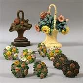 Ten Floral Cast Iron Curtain Tiebacks and Doorstops, ei