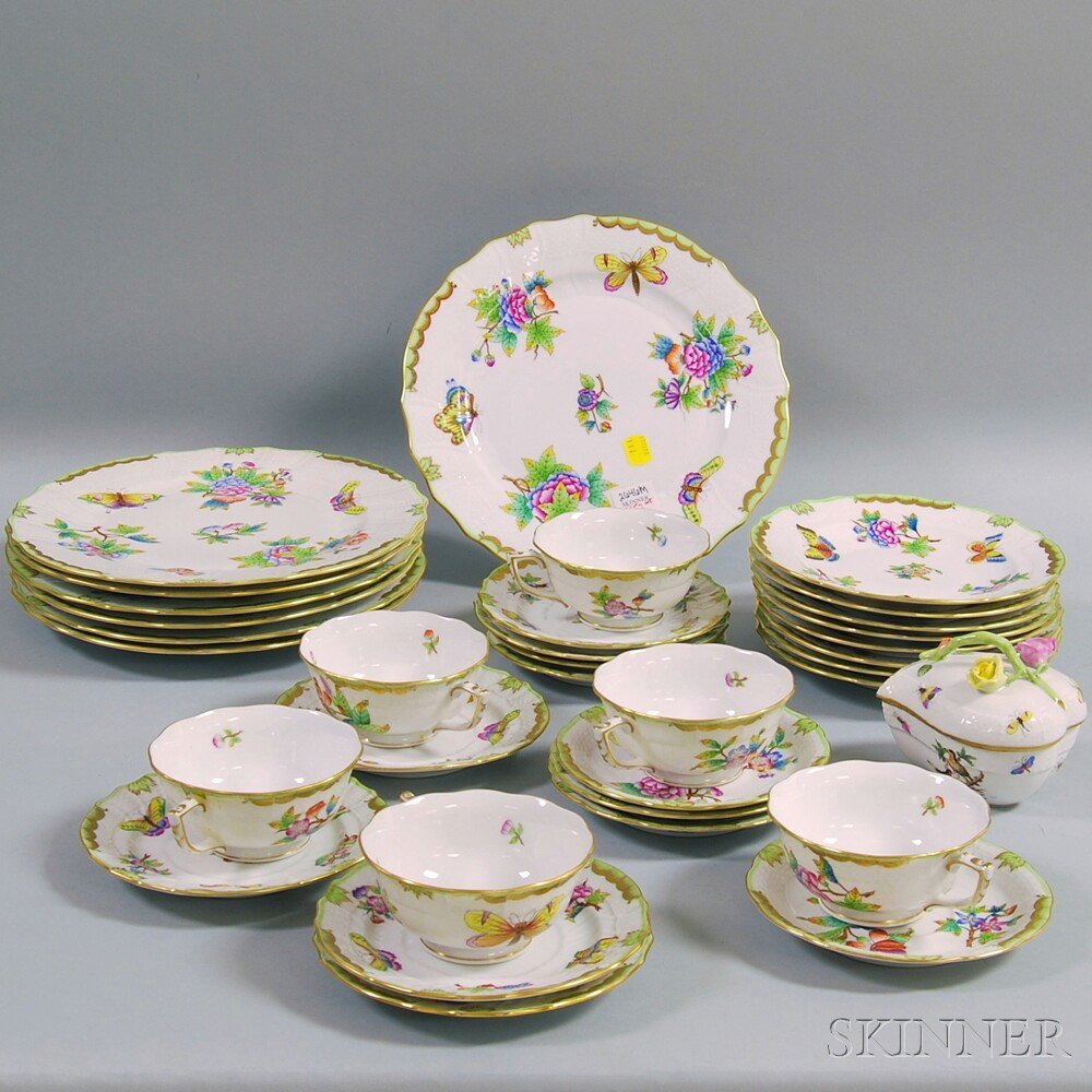 Herend Porcelain Hand-painted Floral and Butterfly Deco