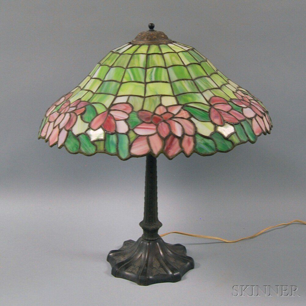 Leaded Art Glass and Patinated Metal Table Lamp, the do