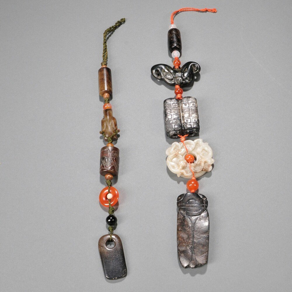 Two Pendants, China, with beads and hardstone carvings