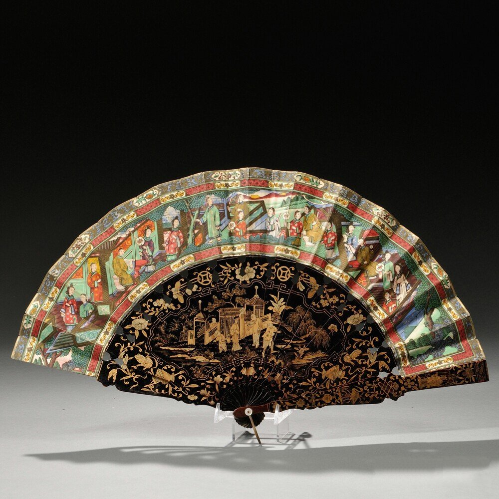 Folding Fan, China, the paper leaf painted with flowers