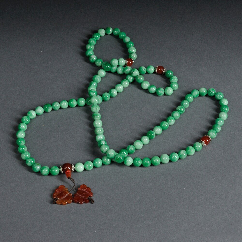 Green Stone Beaded Necklace, China, with four red agate