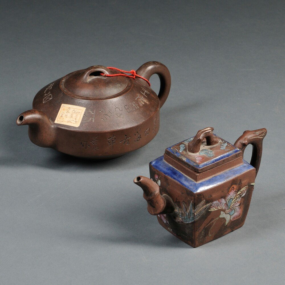 Two Yixing Teapots, China, 20th century, the square pot