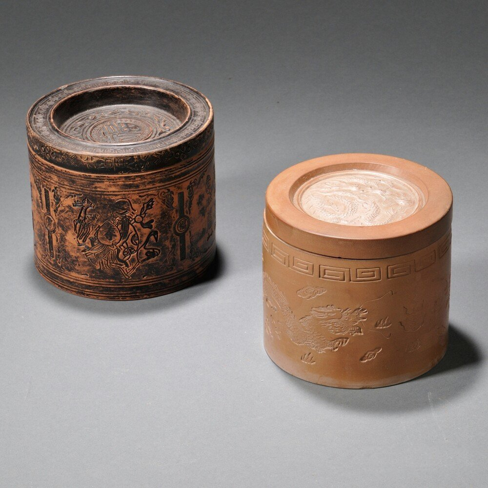 Two Cylindrical Yixing Covered Tea Caddies, China, 20th