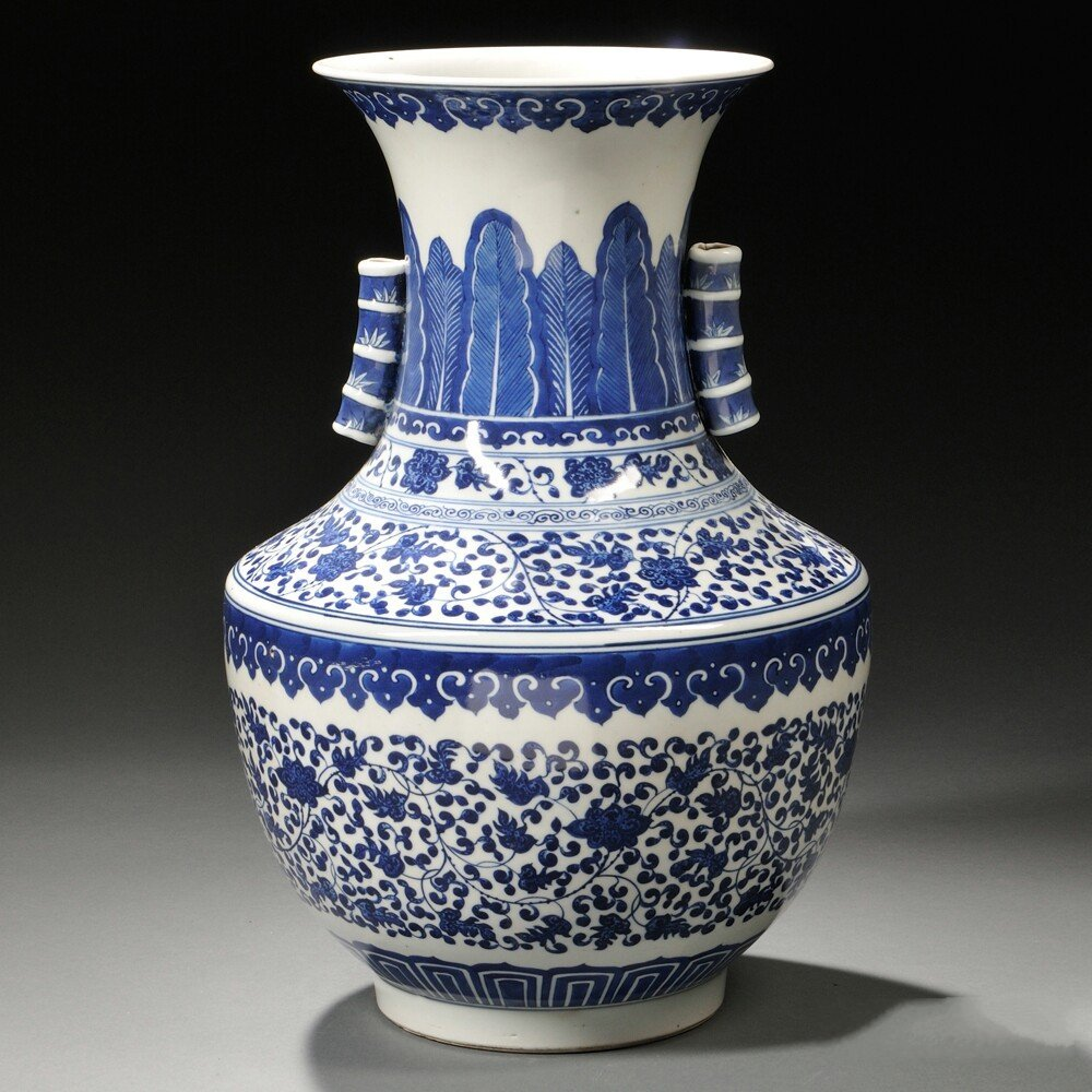 Blue and White Vase, China, Ming-style, with dense