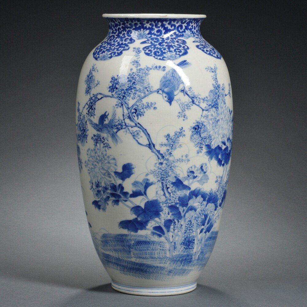 Blue and White Vase, China, decorated with birds and