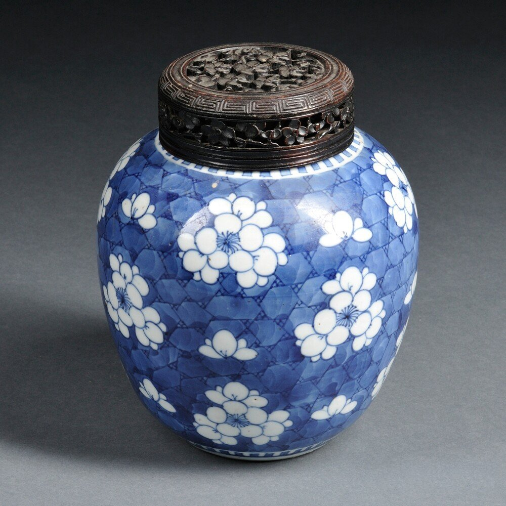Blue and White Jar with Wood Cover, China, 19th/20th