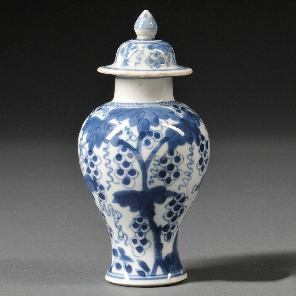 Blue and White Miniature Covered Jar, China, baluster