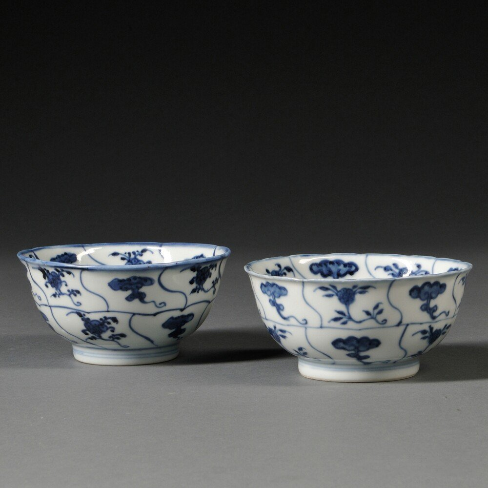 Two Blue and White Bowls, China, 20th century,