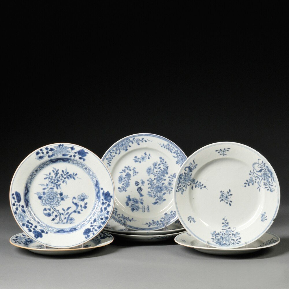 Seven Export Blue and White Dining Plates, China, 19th