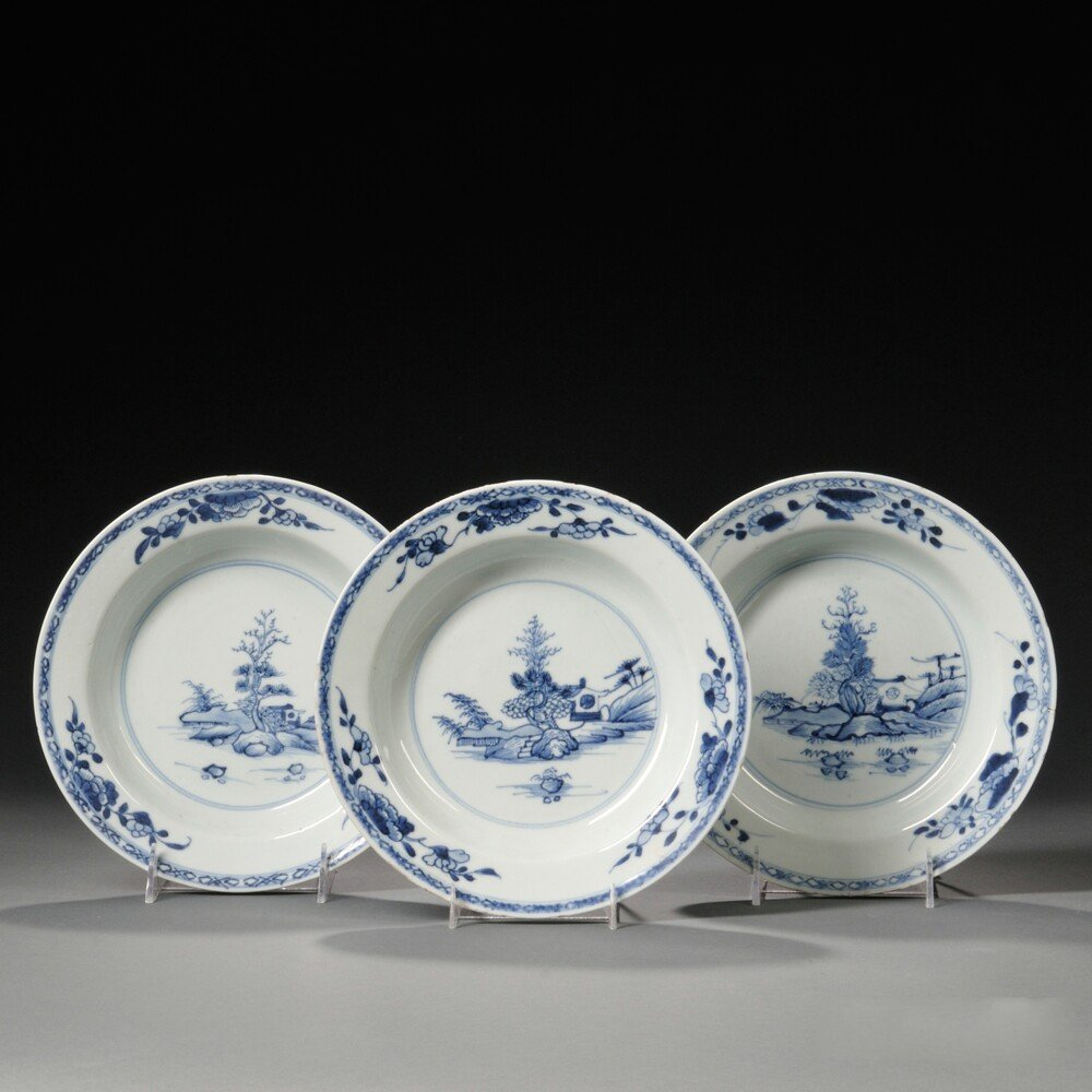 Three Export Blue and White Soup Plates, China,