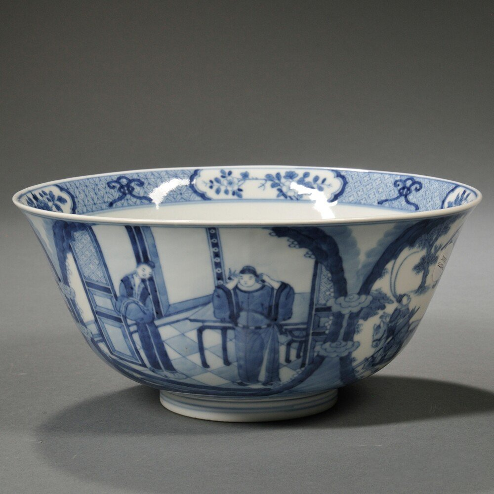 Blue and White Bowl, China, 20th century, the rounded