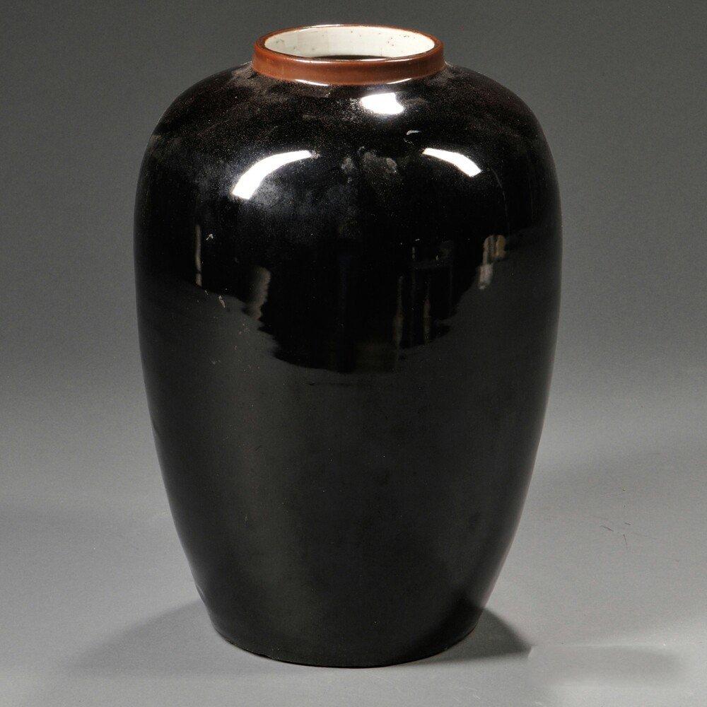 Mirror Black Porcelain Jar, China, oviform, the short
