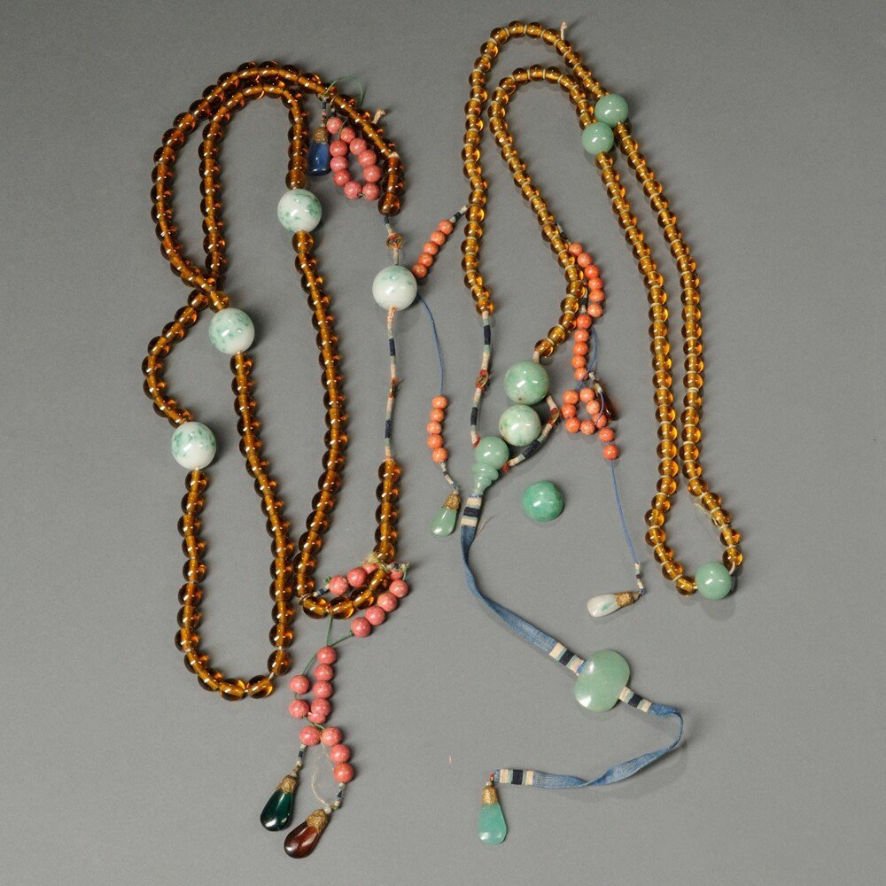 Two Court Necklaces, China, hardstone and glass beads
