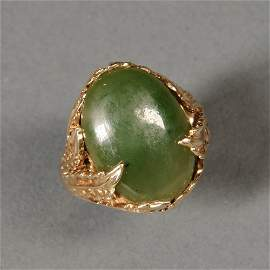 Art Nouveau-style 14kt Gold and Jade Ring, the oval,