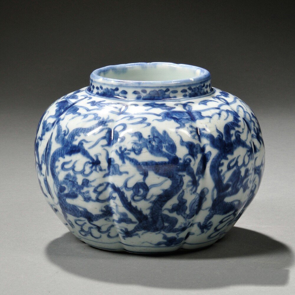 Blue and White Lobed Jar, China, decorated with dragon