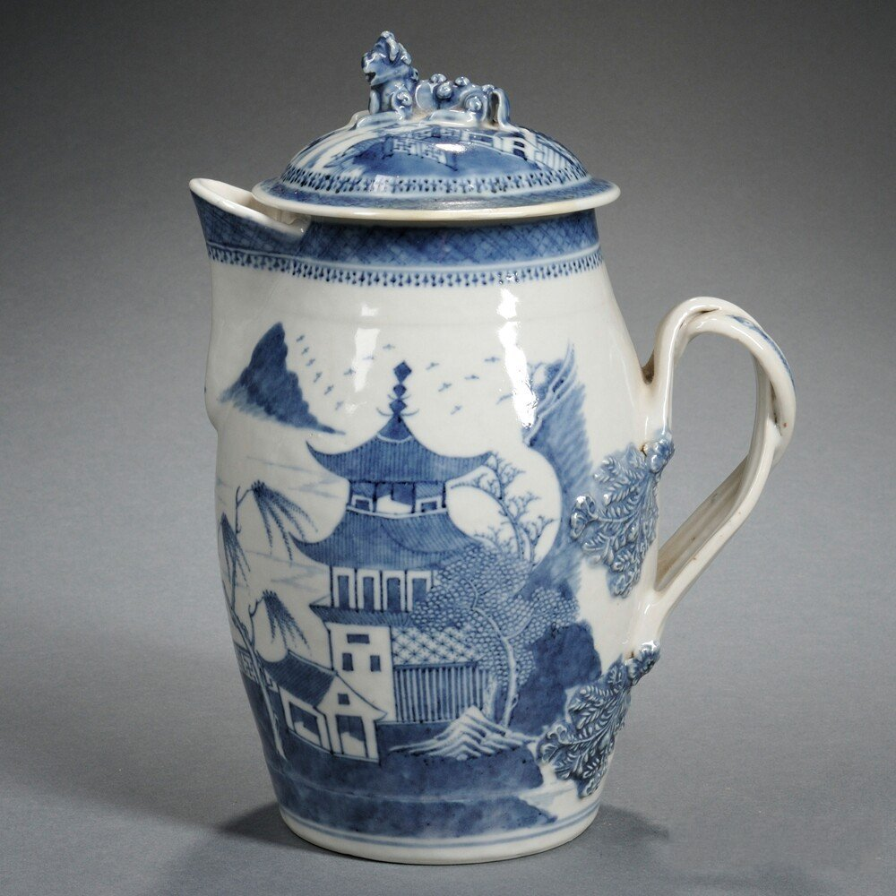 Nanking-style Export Blue and White Covered Pitcher,