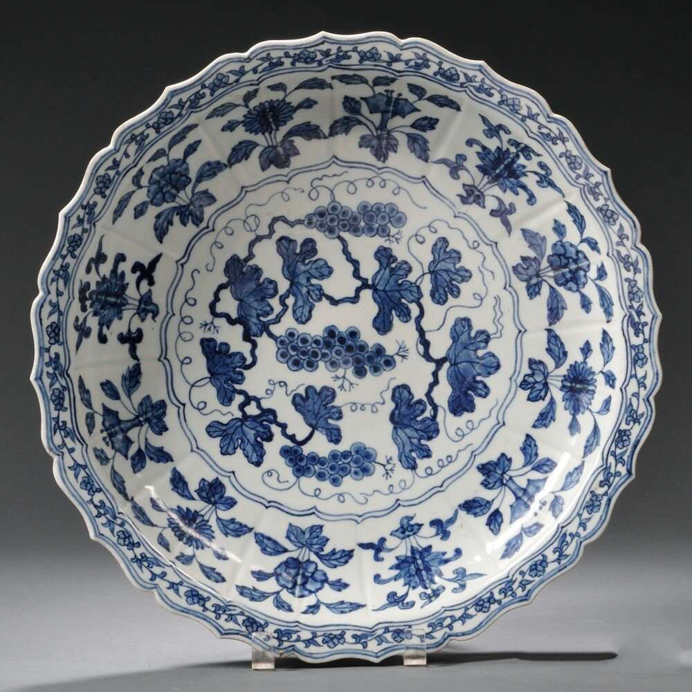 Blue and White Lobed Ming-style Charger, China,