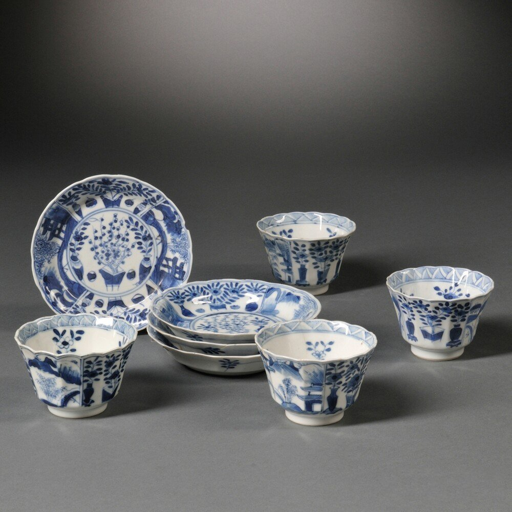 Four Export Blue and White Teacups with Saucers, China,