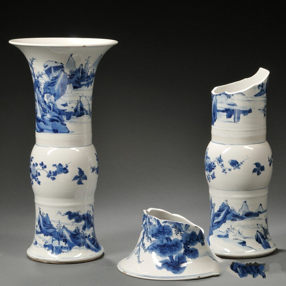 Two Blue and White Gu Vases, China, 18th century or