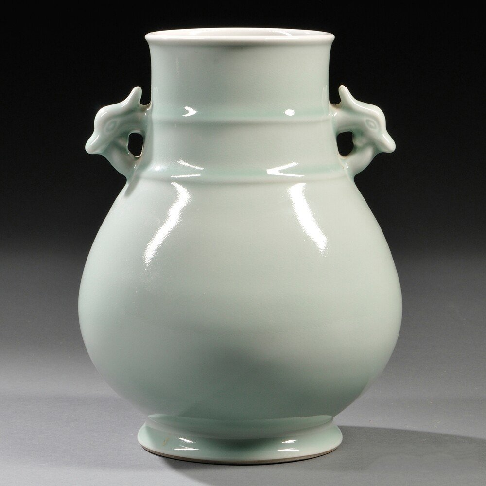 Celadon Hu Vase, China, 20th century, with two