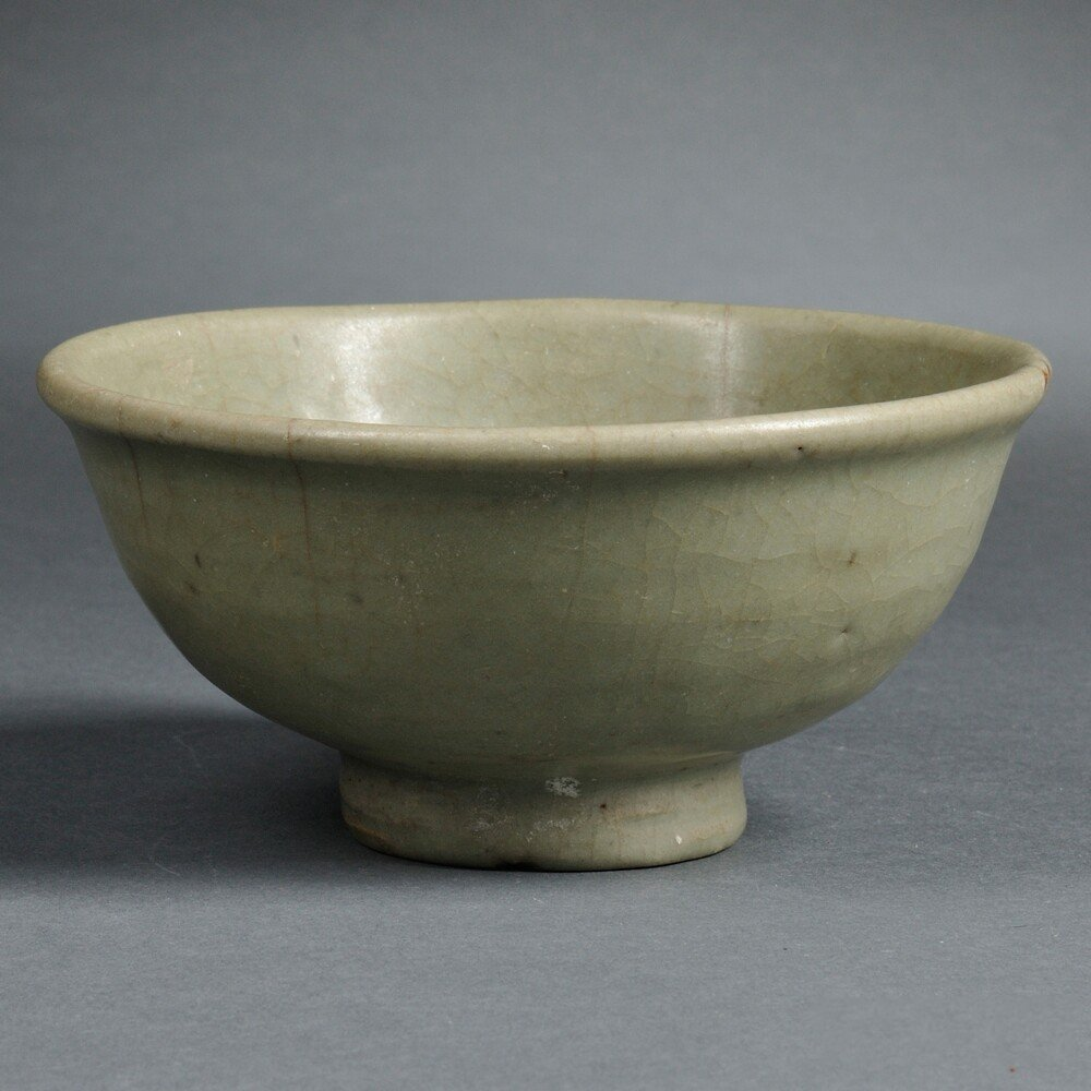 Celadon Terra-cotta Bowl, China, heavily potted and