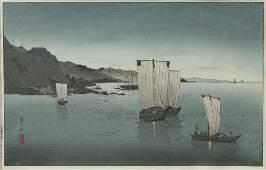 """Kason Suzuki (1860-1919), """"Kominato Harbor,"""" woodblock"""
