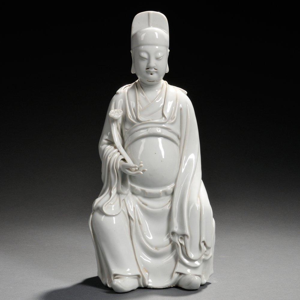 Blanc-de-Chine Figure of Wenchang, China, Qing Dynasty,